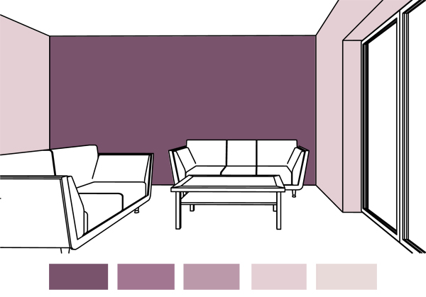 Purple Color On The Wall Interior Design Room One Scheme