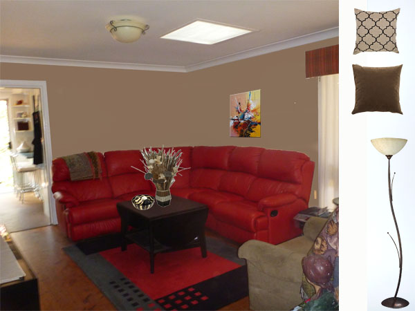What paint colour and accessories match strawberry red lounge for Living room 6m