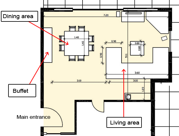 combined living dining room floor plan. Black Bedroom Furniture Sets. Home Design Ideas