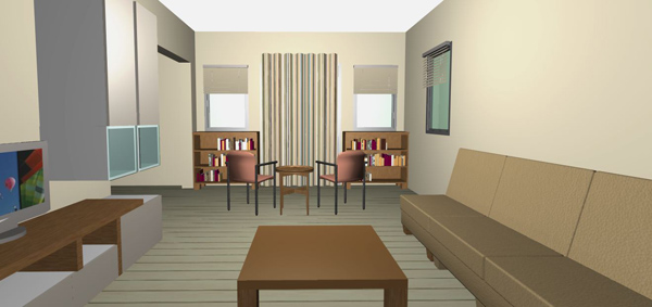 Chest Of Drawers Striped Curtain Symmetrical Openings Living Room Arrangement