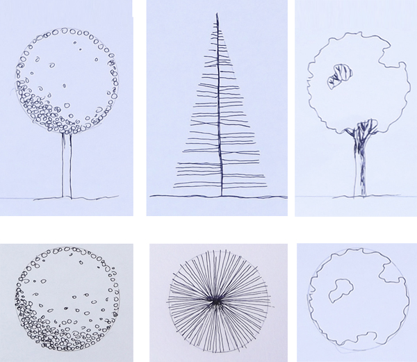 Plan And Elevation Of Trees : Architectural drawing tutorial how to draw trees