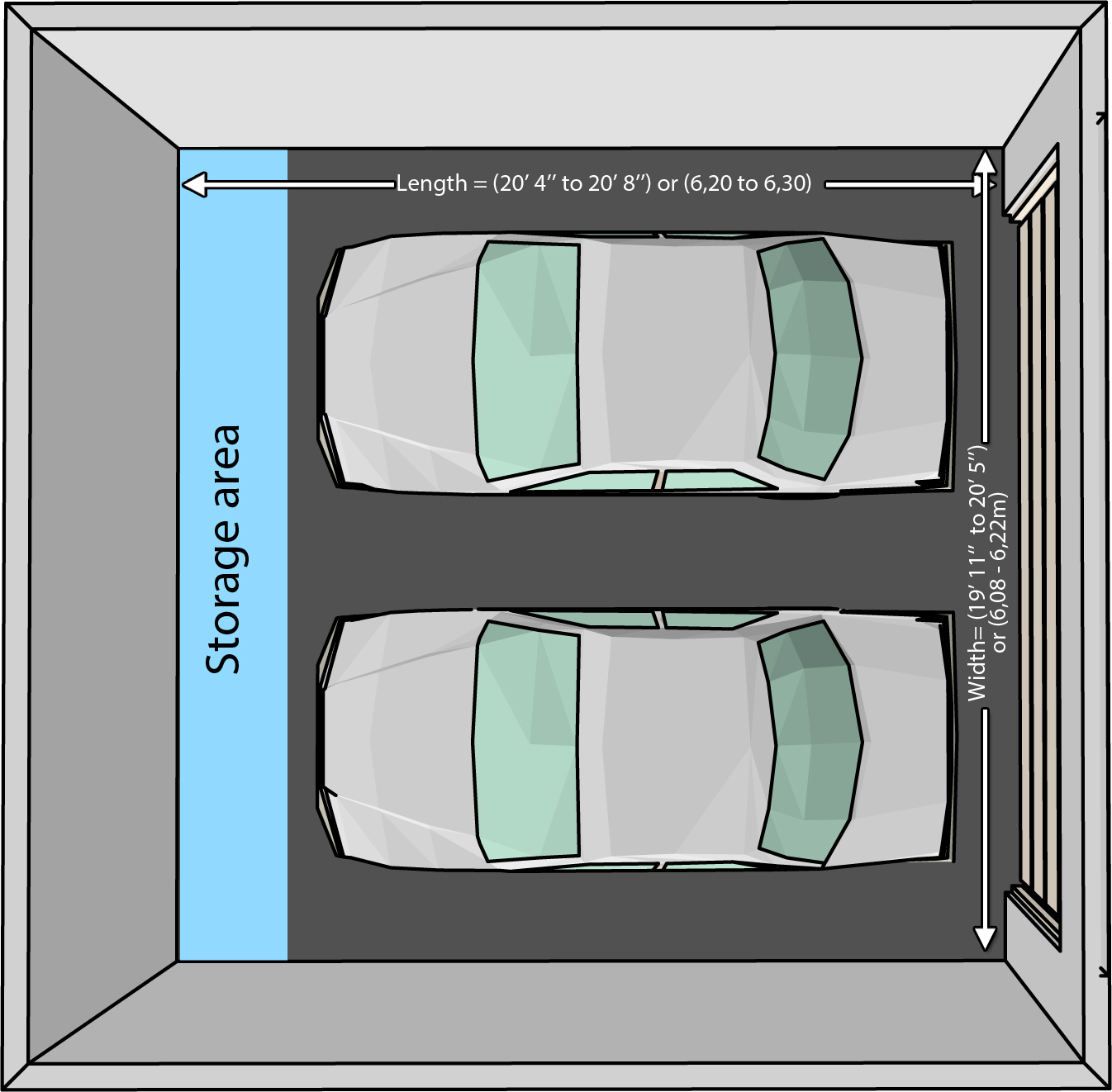 The dimensions of an one car and a two car garage for 2 car garage square footage