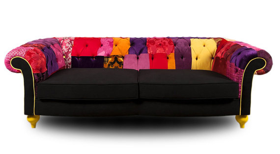 Patchwork Leather Chesterfield Sofa Refil Sofa